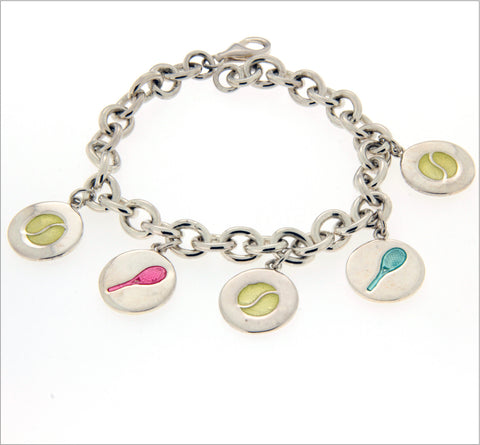 Charm bracelet with enamelled discs in sterling silver