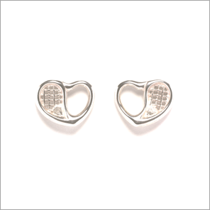 Tennis racquet heart stud earrings
