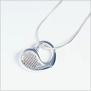 Love Tennis racquet heart pendant in sterling silver