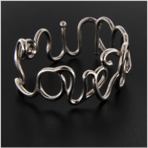 Love tennis cuff in sterling silver
