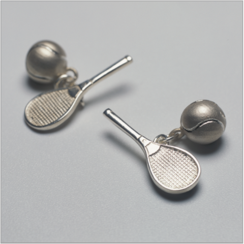 Tennis racquet and ball cufflinks in sterling silver