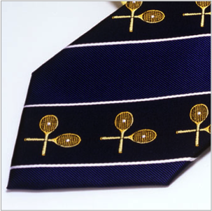 Club Pure Silk Tennis Tie in Pink and Navy Blue