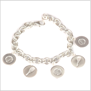 Tennis charm bracelet with disc charms