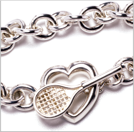 Love Tennis link bracelet with racquet and heart clasp