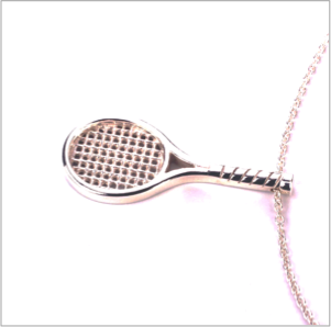 Racquet pendant in sterling silver