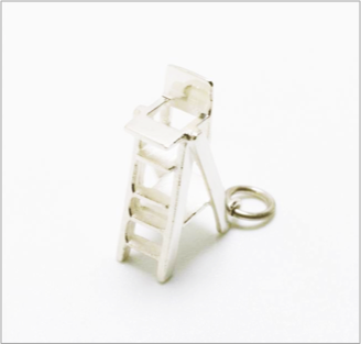 Umpire's chair charm in sterling silver