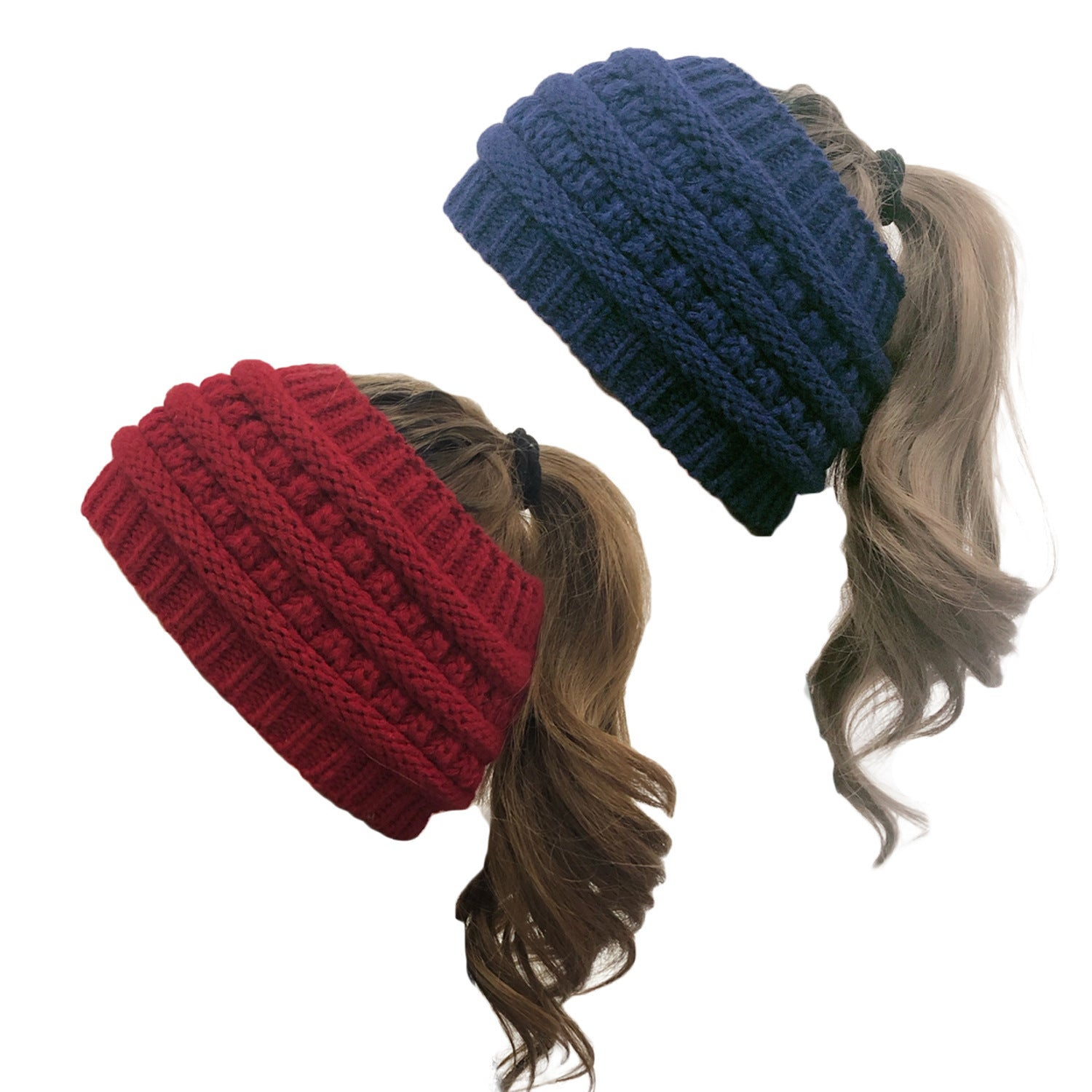 New knitted ponytail hat