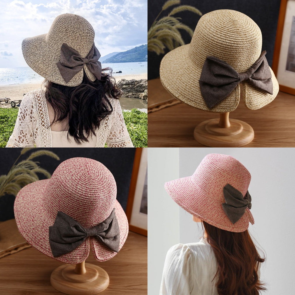 Bowknot wide brim floppy hat