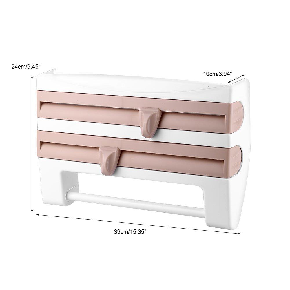 Multifunction Film Storage Rack Cutter for Kitchen【Punch-free】