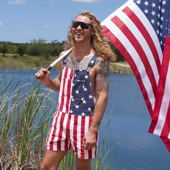 American flag overalls shorts(Only 98 pieces left in stock)