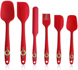 High Heat Resistant Silicone Spatula Set with Pastry Brush Solid Stainless Steel Core