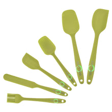 Load image into Gallery viewer, Beautiful six piece set of silicone high heat resistant spatulas. These kitchen utensils are attractive and functional. They are the best set of spatulas you can find. Baking spatula, frying spatula, burger spatula, peanut butter spatula, frying spatula, frying pan spatula, icing spatula, icing spreader.
