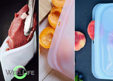 Load image into Gallery viewer, Well Life Reusable Silicone Food Storage Bags - 3 sizes - different colors. Plastic free.