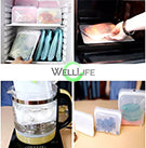 Well Life Reusable Silicone Food Storage Bags - 3 sizes - different colors. Plastic free.  Heat proof. Freezer safe.