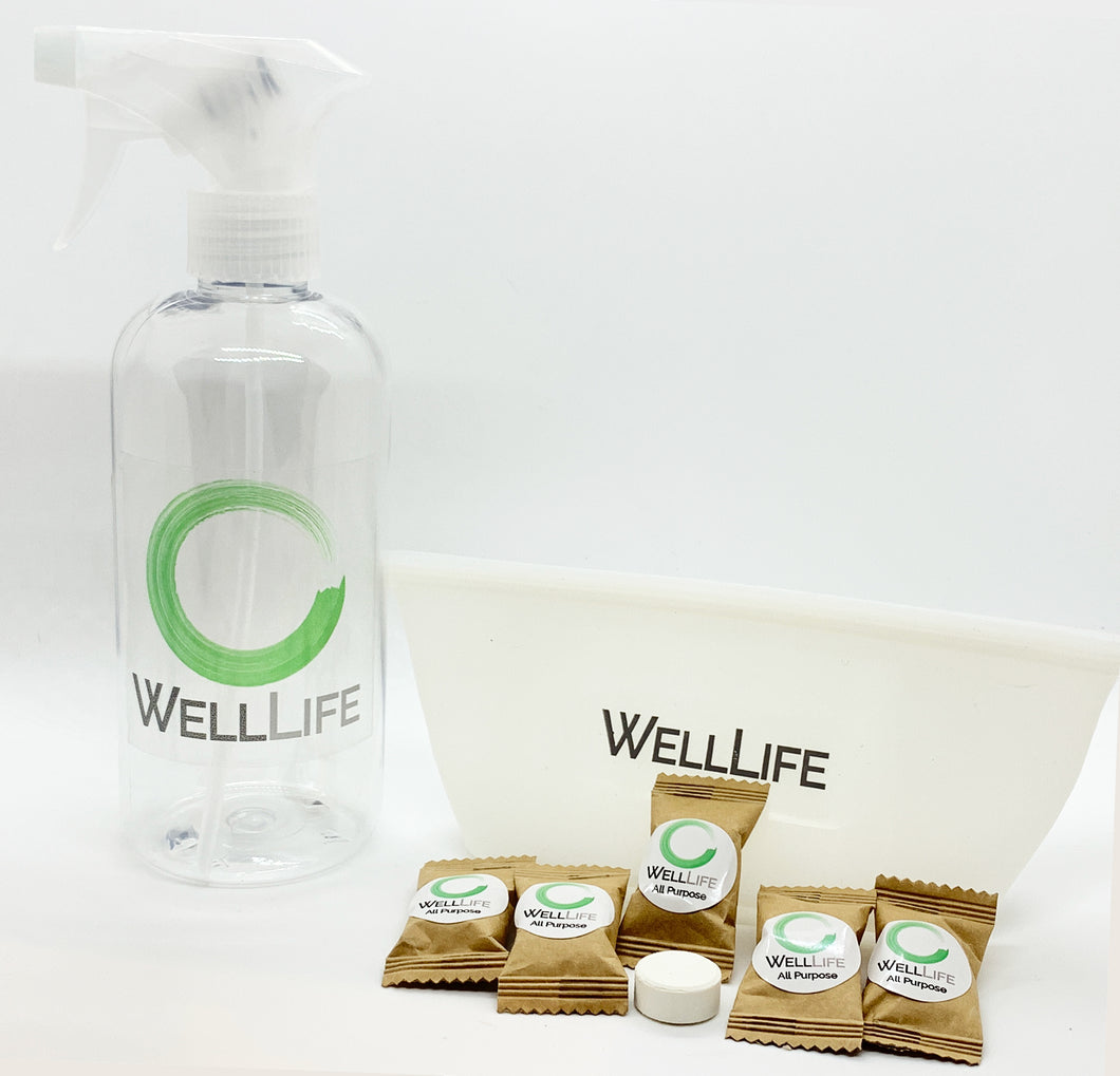 Well Life - All Purpose Cleaner Starter Set - Spray Bottle - 5 Tablets - Silicone Storage Pouch