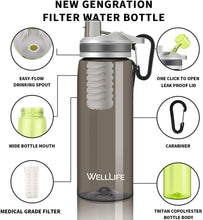 Load image into Gallery viewer, Well Life Filtered Water Bottle 26oz, 2 Stage Replaceable Filter