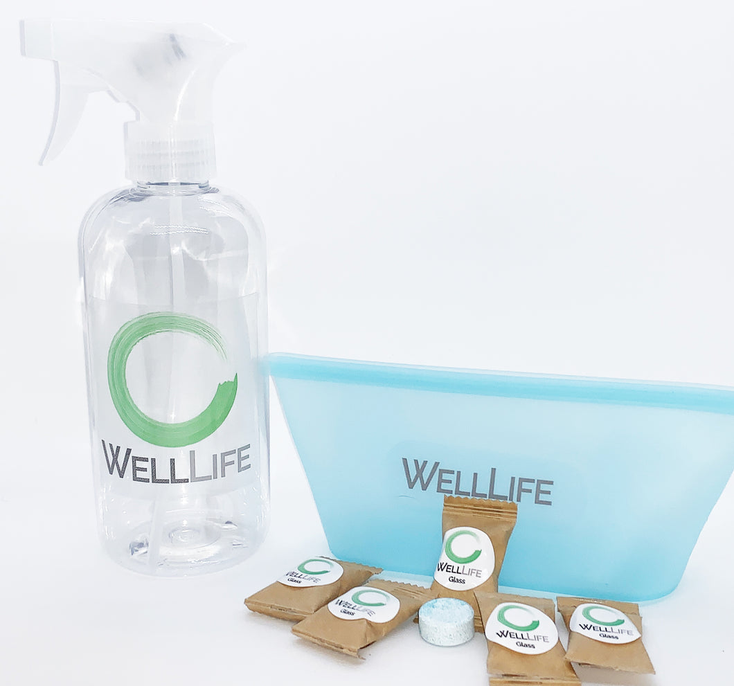 Well Life - Glass & Mirror Cleaner Starter Set - Spray Bottle - 5 Tablets - Silicone Storage Pouch