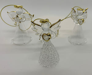 Beautiful Hand Blown and Spun Glass Angels - Set of 3