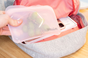 Well Life Reusable Silicone Food Storage Bags - 3 sizes - different colors. Plastic free.