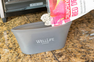 Well Life Reusable Silicone Food Storage Bags - 3 sizes - different colors.