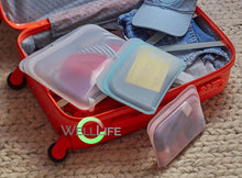 Load image into Gallery viewer, Reusable Silicone Food Storage Bags Easy Fill Food Bag, 3 Pieces and colors, Plastic and BPA Free, Eco-Friendly, Save the Environment