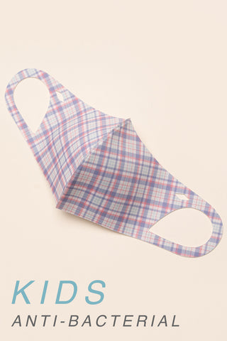 KIDS: PINK BLUE PLAID PRINT - MASK-1023-K (pack of 5)