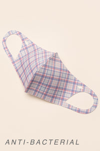 ADULT ONE SIZE: PINK BLUE PLAID PRINT - MASK-1023 (pack of 5)