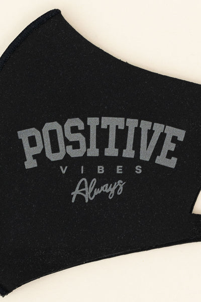 "ADULT ONE SIZE: BLACK ""POSITIVE"" - MASK-1029 (pack of 5)"