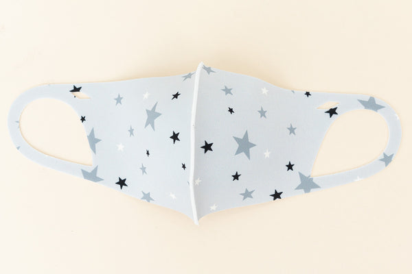 ADULT ONE SIZE: GREY STAR PRINT - MASK-1030 (pack of 5)