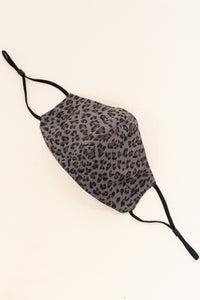 ADULT ONE SIZE: CHARCOAL LEOPARD PRINT CLOTH - MASK-I3-CH (pack of 5)