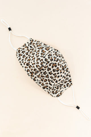 ADULT ONE SIZE: IVORY LEOPARD PRINT CLOTH - MASK-I3-IV (pack of 5)