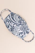 Load image into Gallery viewer, Essentials:  White/Blue Paisley MASK-CP2 (pack of 6)