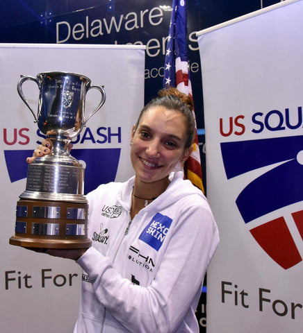Camille Serme trophy at US Open Squash Championship 2016 in Philadelphia.
