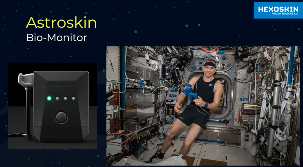 Astrokin wearable sensors worn by Canadian astronaut David Saint-Jacques in the International Space Station, January 2019