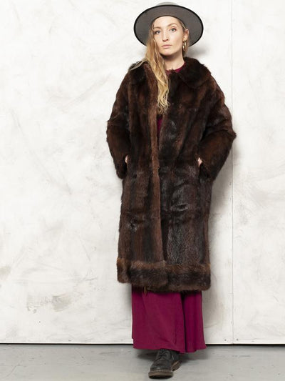 Brown Fur Coat Vintage 80's Luxouri Coat Beaver Fur Overcoat Soft Warm Coat Winter Coat Outerwear Women Vintage Clothing size Large
