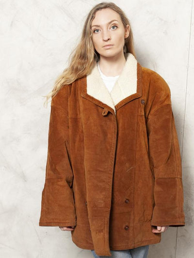 Brown Sherpa Jacket Vintage 70's Brown Beige Leather Jacket Winter Bomber Jacket Sheepskin Women Clothing Winter Wear size Extra Large XL