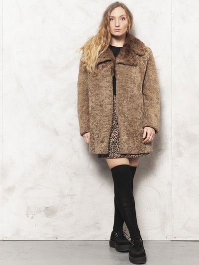 Brown Fur Coat Vintage 80's Teddy Coat Brown Vintage Soft Coat Shearling Winter Coat Fox Fur Outerwear Women Vintage Clothing size Medium