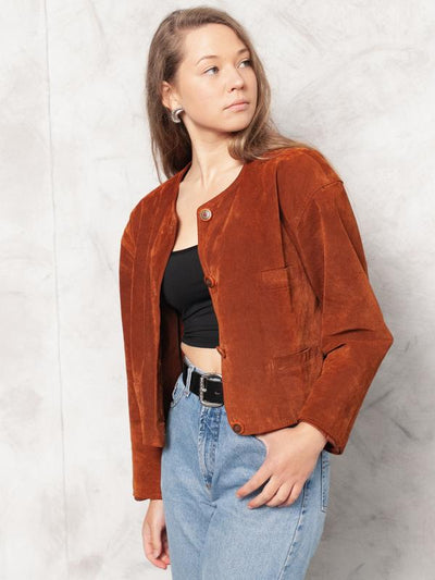 Vintage 80s Brown Suede Crop Jacket Brown 1980s Suede Jacket Western Jacket Urban Boho Jacket Collarless Cropped Suede Jacket size Medium