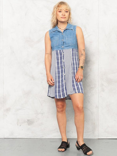 Vintage 90s Denim Empire Waist Dress . Vintage Pinafore Dress Sleeveless Plaid Dress Blue Button Up Midi Dress Crinkle Dress . size Medium