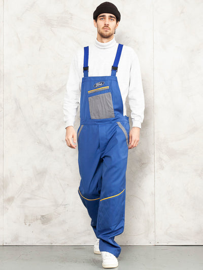 FORD Men Dungarees vintage 90's work jumpsuit chore dungarees garage car mechanic cover jumpsuit fashion clothing indigo blue size large