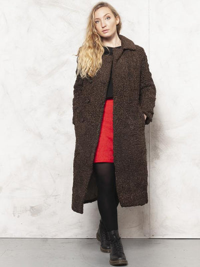 Lamb Fur Coat Vintage 80's Curly Fur Coat Women Luxurious Coat Opera Coat Curly Fur Overcoat Winter Long Coat Brown Women Coat size Medium