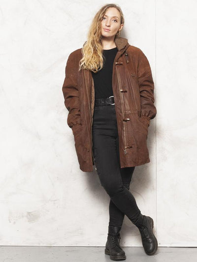 80s Leather Parka Jacket Brown Parka Coat Autumn Outerwear Longline Jacket Brown Oversized Parka Coat Women Vintage Clothing size Large