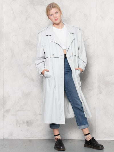 Vintage 80s Light Gray Duster Coat Women's Long Trench Coat 90s Light Mac Coat Oversized Coat Maxi Length Artist Coat Streetwear size Large