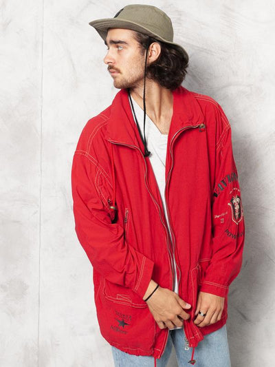 Red Windbreaker Jacket Vintage 90s Jacket Men's Hiking Jacket Men Clothing Autumn Jacket Casual Jacke size Extra Large XL