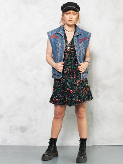 Vintage 90s Padded Denim Vest . Dark Wash Denim Vest Sleeveless Denim Jacket Womens Oversized Jean Vest 1990s Denim Vest Women . size Medium