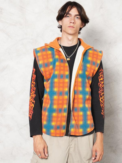 Orange Vintage 80's Men Gilet Vest Plaid Cotton Outdoor Vest Sleeveless Hoodie Gilet Camping Vest Vintage Men Outerwear Vest size Medium