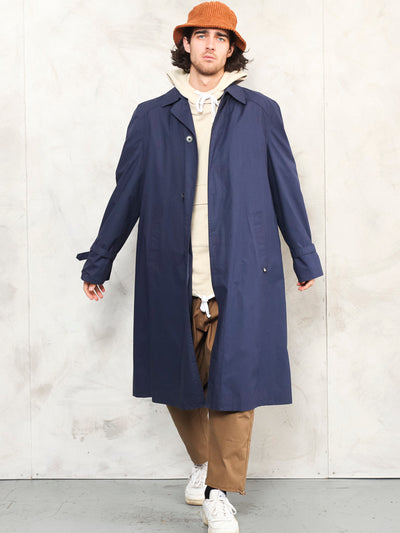 Men Trench Coat spring blue vintage 90's duster rain coat long jacket blue mod coat outerwear men clothing boyfriend gift size extra large xl