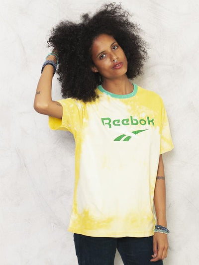 Reworked REEBOK T-Shirt 90s Tie Dye T-Shirt Bleached Shirt Yellow Tee Handmade Shirt Bleach Print T-shirt Women Vintage Clothing size Medium