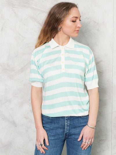 Vintage 70s Striped Knit Top . 70s Turquoise and White Knit Tee Shirt Collared T-Shirt Short Sleeve Top Retro Top 70s Clothing . size Medium