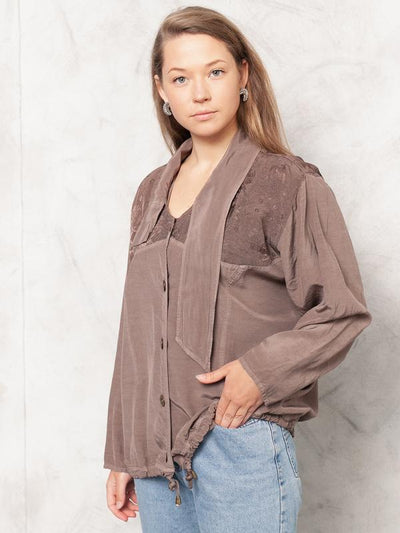 Vintage Brown Oversized Blouse 80s Vintage Boho Top Summer Patterned Tan Brown Blouse Oversized Button Down Shirt 90s Hippie Top size Large